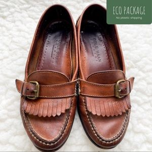 Cole Haan Brown Leather Buckle Top Fringe Loafers